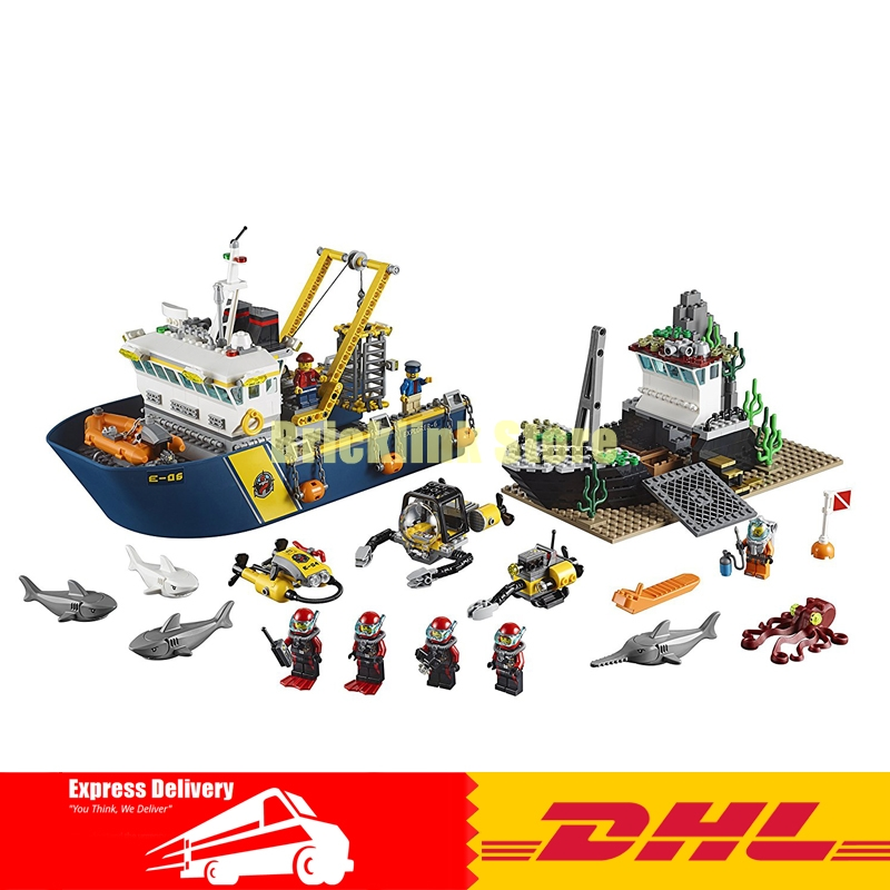 Lepin 02012 774Pcs City Series Deep Sea Exploration Vessel Building Blocks Compatible 60095 Brick Toy 774pcs city deep sea explorers 02012 model exploration vessel building blocks bricks children toys ship kit compatible with lego