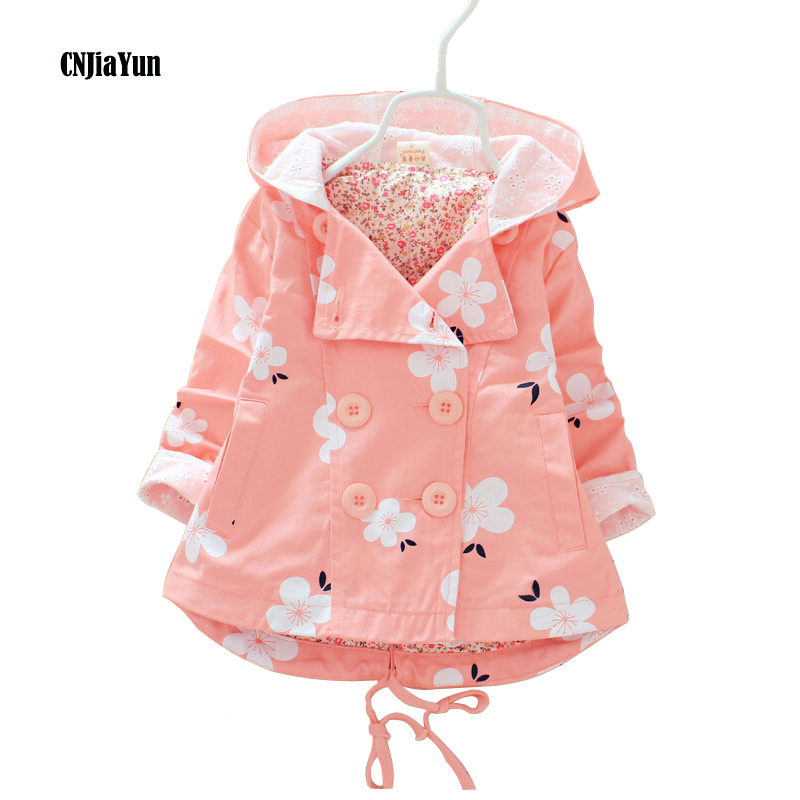 New Girls Coat Spring Autumn hooded Girls Windbreaker Baby Girls Jacket Kids Trench Coat Floral Print Childrens Clothing