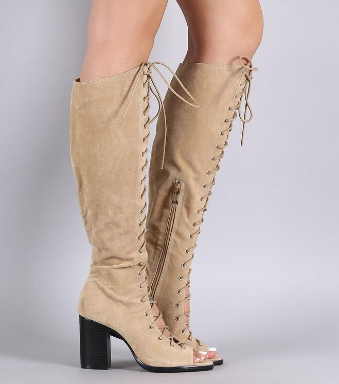 Carré Vert Femmes Toe up Bottes as Cuisse Gladiateur Peep Longues Lace As Picture En Cuir 2018 Picture Talons Stretch Genou Armée out De Cut Haute 0nrYAqZ0w