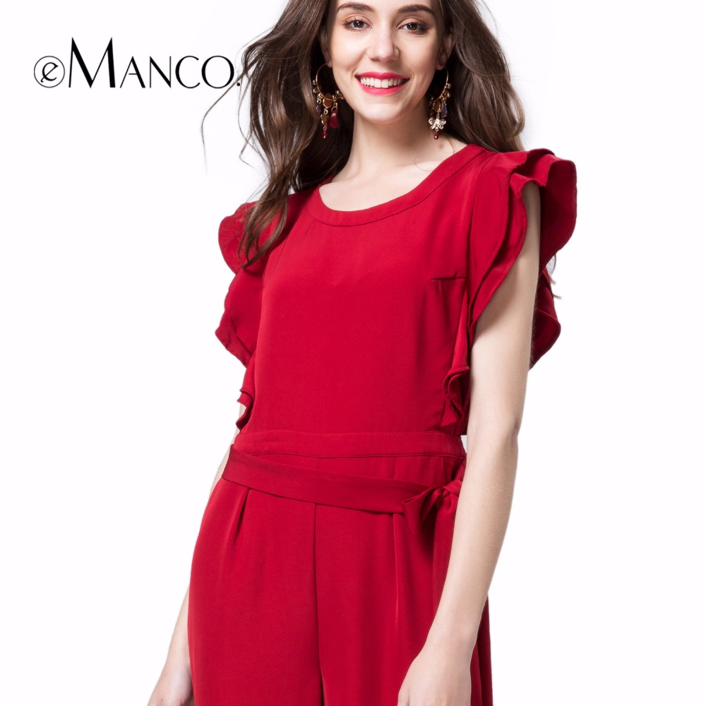 e-Manco Wide leg Elegant Long red jumpsuit Overalls for women Fashion Petal sleeve O-Neck Loose Solid Full-Length Women set