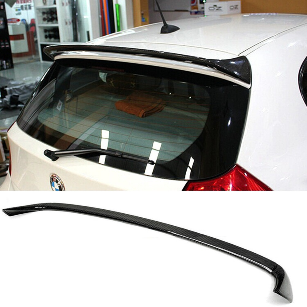 E87 E81 AC Style Rear Roof Lip Spoiler Wing Carbon Fiber untuk BMW 1 Series Hatchback 2004-2011