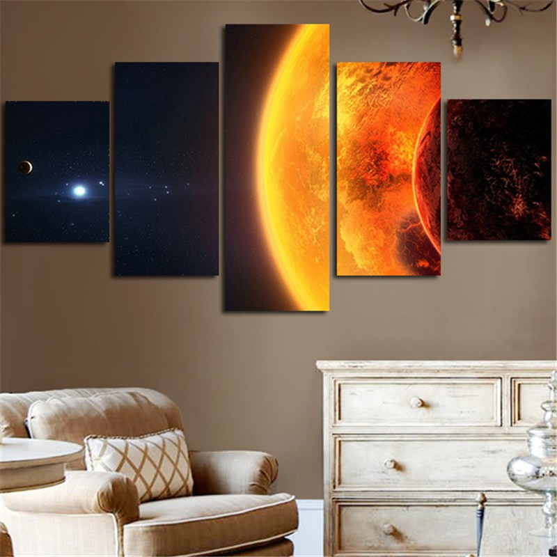 5 pieces milky way the earth planet poster modern home for Modern home decor pieces