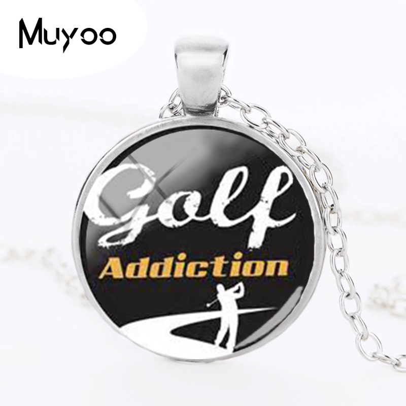 2018 New Golf Addiction Necklace Golf Stadium Pendant Personalized Photo Necklaces Silver Glass Dome Pendants Round Jewelry HZ1