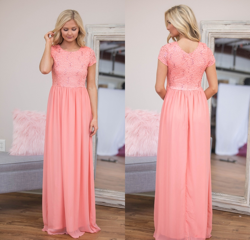Coral Lace Chiffon Long Modest   Bridesmaid     Dresses   With Cap Sleeves A-line Floor Length Country Style Formal   Bridesmaid   Gowns