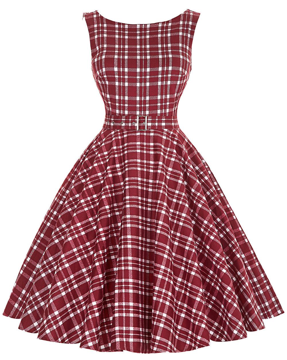 Sleeveless Cotton Plaid Striped Swing Dress 1