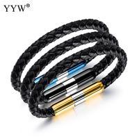 Fashion Lederen Armbanden Mannen Sieraden Lederen Wrap Vintage Blauw Goud Kleur Manchet Polsband Vrouwen Bileklik Vriend Minnaar Gift