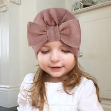1 Piece Children Bowknot Kids Bow Cap Baby Hat Newborn Girls clothes accessories infant beanie turban Solid(China)