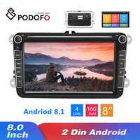 Podofo Android 8,1 2Din coche MP5 Multimedia reproductor de vídeo de la Radio del coche de GPS Auto Radio estéreo 8''Audio para asiento/Skoda/Passat/Golf/Polo