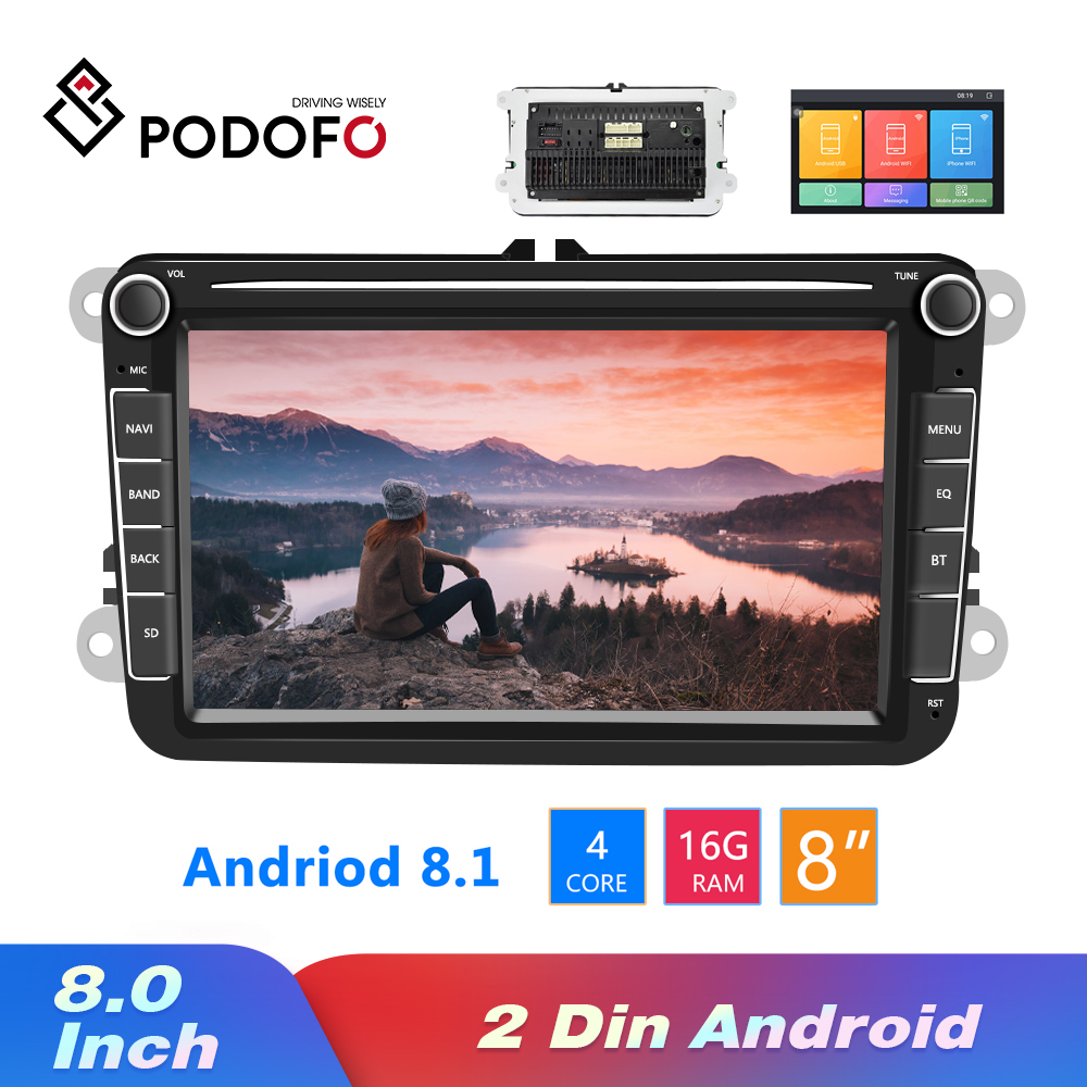 Podofo Android 8,1 2Din coche MP5 reproductor de vídeo Multimedia GPS Radio de coche Auto Radio estéreo 8 Audio para asiento/Skoda /Passat/Golf/Polo