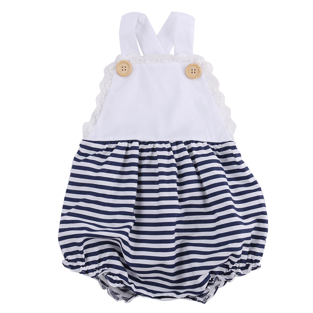 Black And Navy Blue Toddler Infant Baby Girl Lace Patchwork Striped