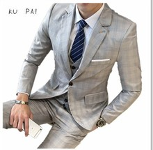 2017 new men's suits Slim business casual Tibetan blue checkered four-season dress new wedding dress business casual men's suit