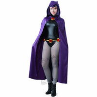 DC Teen Titans Raven Cosplay Costume Anime Women Sexy Clothes Cloak Jumpsuit