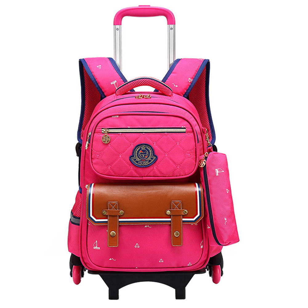 Removable Children School Bags with 6 Wheels Child Waterproof Trolley Backpack Kids Wheeled Bags for Boys