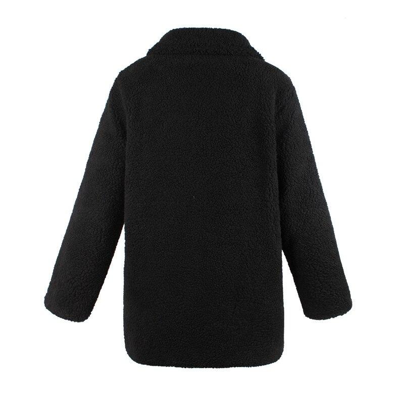 Europe and the United States street photo lapel imitation fur plush coat multi-color long wool coat (13)