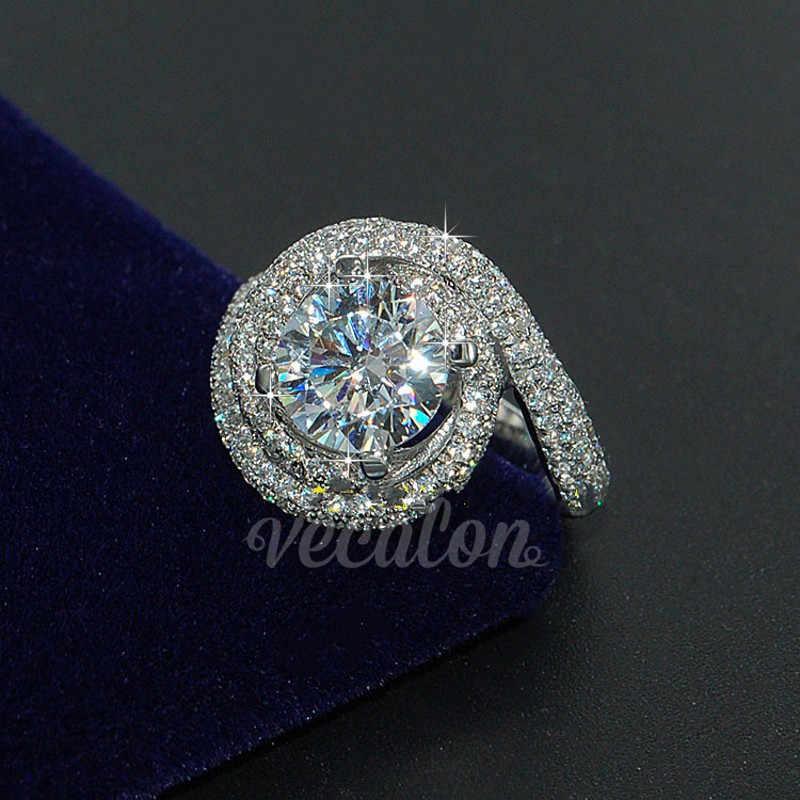 Vecalon โรแมนติกแหวนผู้หญิงผู้ชายเครื่องประดับ 2ct AAAAA Zircon CZ 925 เงินสเตอร์ลิงคนรักแหวนหมั้นแหวน
