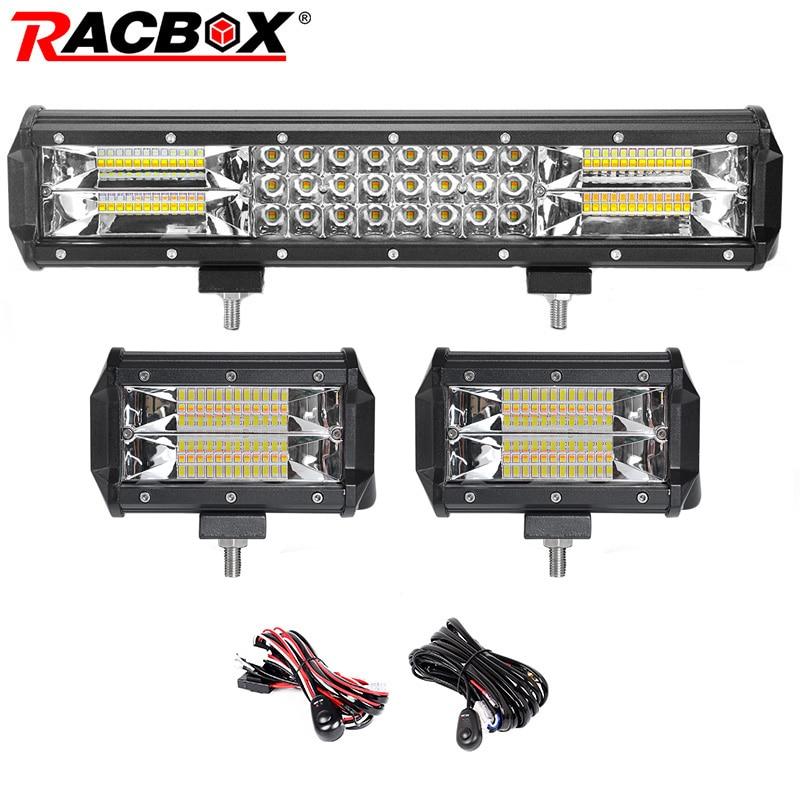 Dual Color 3-row 15inch 216W LED Light Bar Offroad Led Bar Combo Beam+2x72W Flood Led Work Lights Truck SUV ATV 4x4 4WD 12v 24v цена и фото