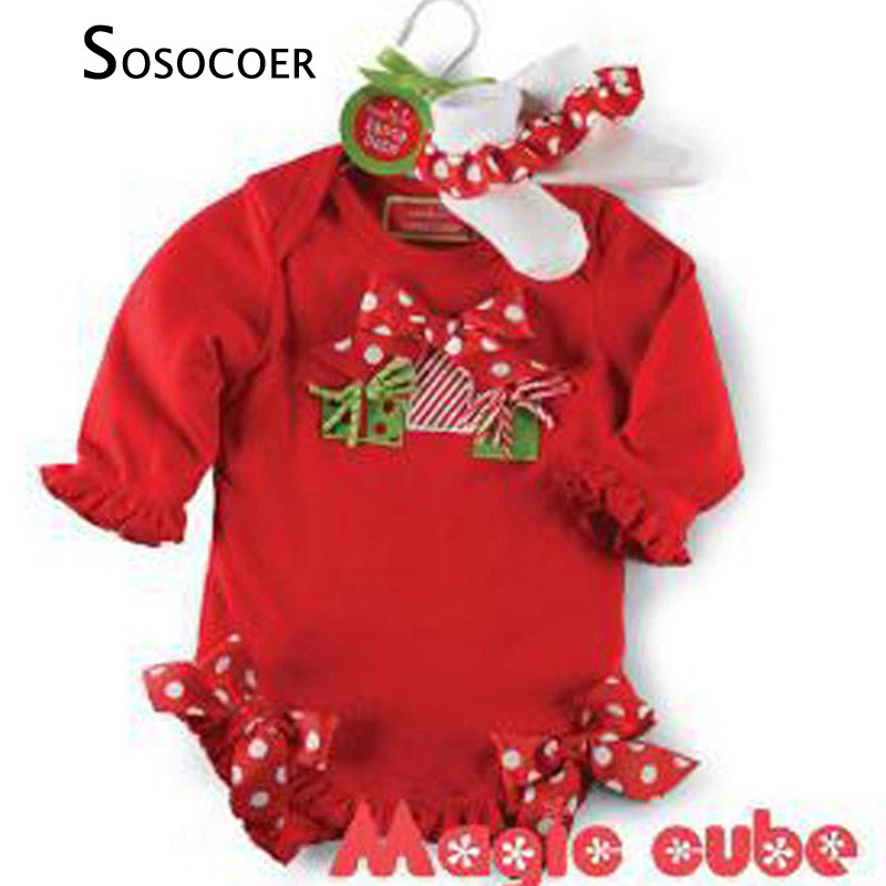 SOSOCOER Baby Girl Rompers Summer Santa Claus Polka Dot Girls Clothes High Quality Bow Newborn Romper Jumpsuit Christmas Gifts