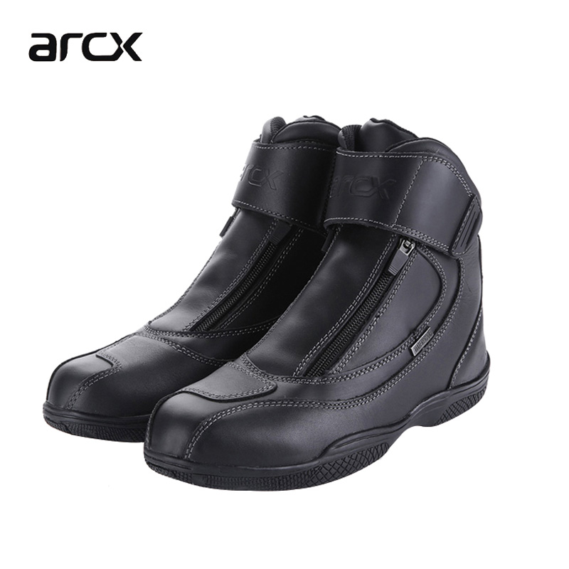 Brand ARCX Boots for Motorcycle Genuine Leather Waterproof Street Men Bota Moto Racing Motocross Touring Riding Shoes Black arcx motorcycle boots off road racing shoes men leather moto boots motocross boots street moto touring riding motorcycle shoes