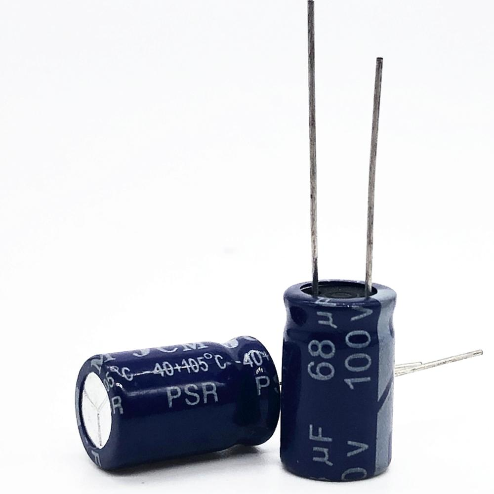 50pcs/lot High Frequency Low Impedance 100V 68UF 10*13 20% RADIAL Aluminum Electrolytic Capacitor 68000nf 20%