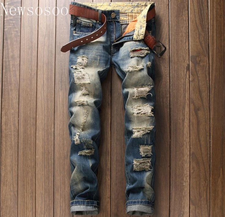 2017 European American Style fashion brand mens jeans luxury Men straight denim trousers hole zipper Slim blue jeans for men