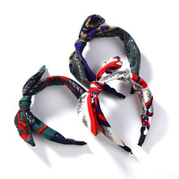 Wide Knotted Hair Accessories Flower Leaf Print Bowknot Headwear Big Bow Headbands 21800