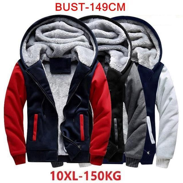 Мужская толстовка большого размера 7XL 8XL 9XL 10XL, осенне зимняя синяя, красная, панельная, черная, серая куртка на молнии с длинными рукавами
