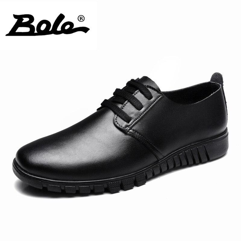 BOLE 36-47 Larg Size Genuine Leather Men Shoes Autumn Fashion Wear-resistant Men Casual Shoes Lace Up Breathable Flats Men Shoes wear resistant casual men backpack