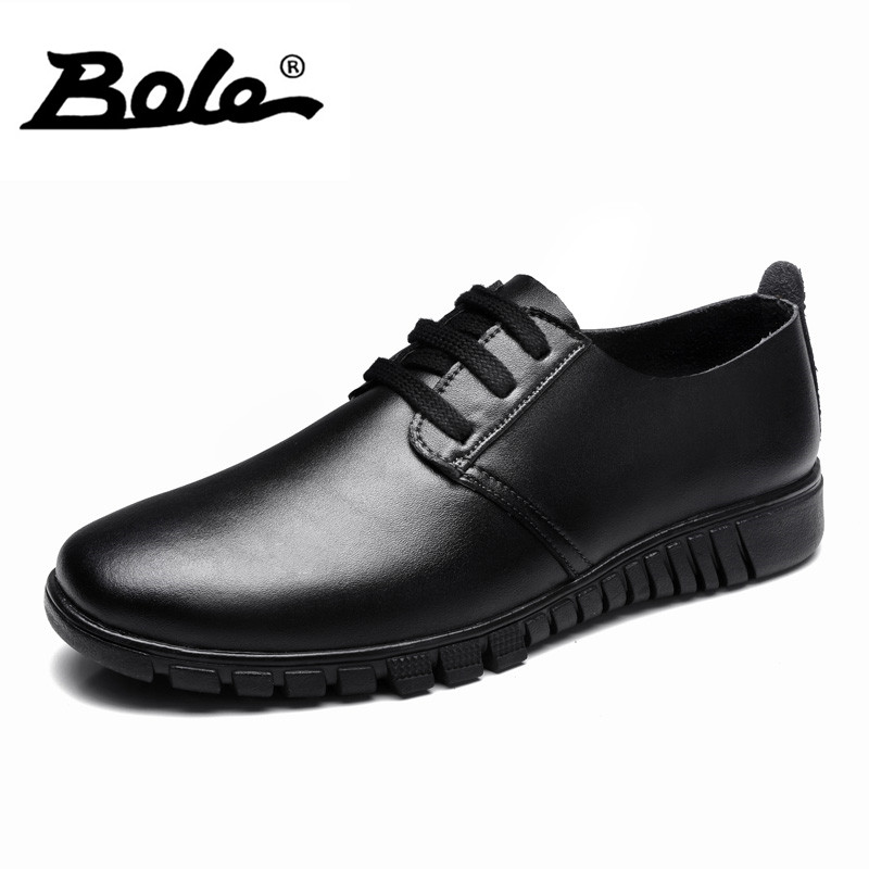 BOLE Spring Designer Superstar Genuine Leather Shoes Men Leisure Fashion Walking Wear resistant Men Shoes Lace