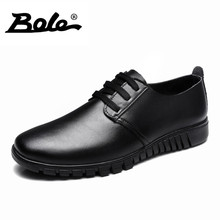 BOLE Spring Designer Superstar Genuine Leather Shoes Men Leisure Fashion Walking Wear-resistant Men Shoes Lace Up Flat Men Shoes