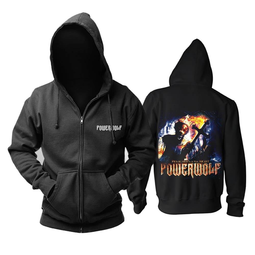 Bloodhoof شحن مجاني Powerwolf الموت المعادن تذكارية هوديي حجم الآسيوية-في قمصان وسترات بقلنسوة من ملابس الرجال على  مجموعة 1