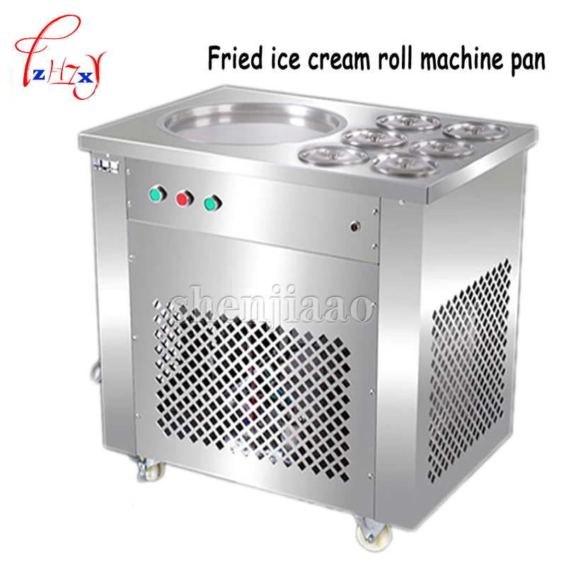 Full Stainless steel One Pan Fried ice cream roll machine pan Fry flat ice cream maker yoghourt fried ice cream machine 1pc цена 2017