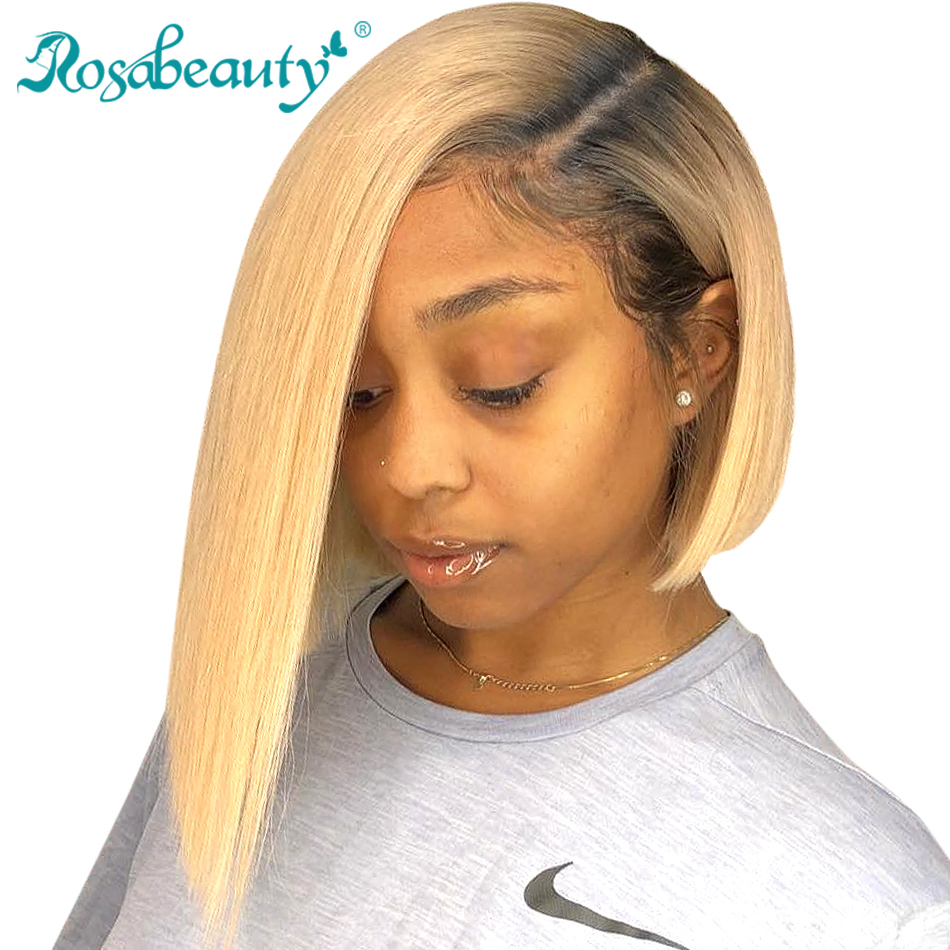 613 Ombre Blonde 13x6 Lace Front Human Hair Wigs Brazilian Short Bob Straight Frontal Wigs pre