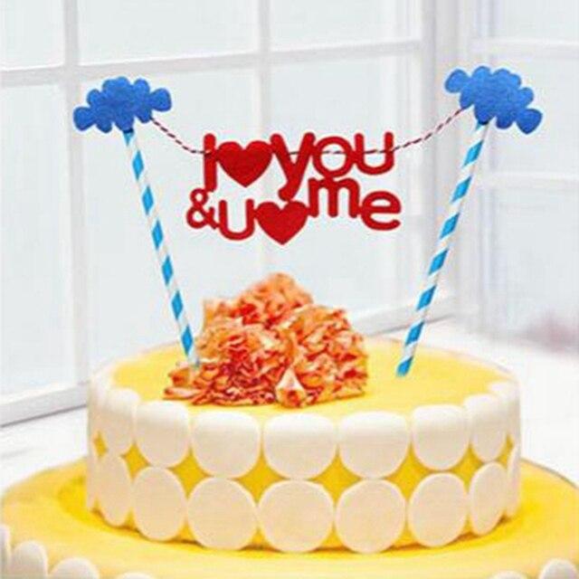 I Love You Happy Birthday Letter Cake Topper Pick Set Flag Valentine