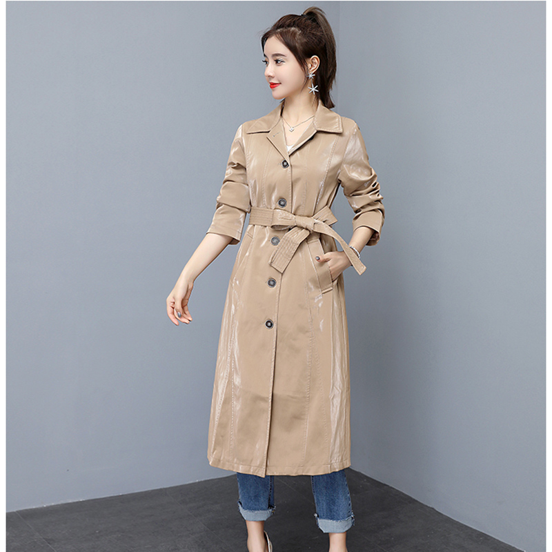 High-quality fashion new spring women's long-sleeved long section slim temperament PU Leather   trench   coat with belt Female s45