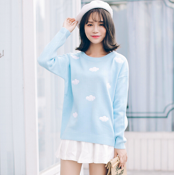 2016 Korean new winter sweaters Harajuku cute 3D clouds hedging thick round neck women sweater