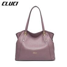 Cluci frauen handtasche reale echtes leder mode schwarz/blau/rot/lila/grau luxus reißverschluss top-griff handtaschen schultertaschen