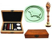 Vintage Cute Dachshund Dog Luxury Wax Seal Sealing Stamp Brass Peacock Metal Handle Sticks Melting Spoon