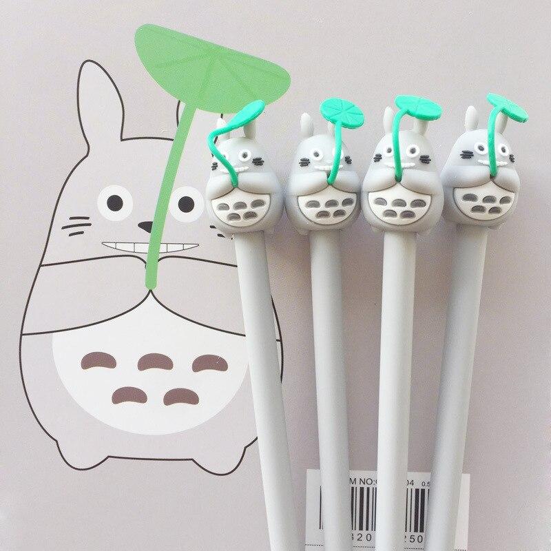 2 Pcs Creative Stationery Student Pen Cartoon Totoro Gel Pen 0.5 Full Needle Black Ink Pen School Supplies Office Supplies 0.5mm