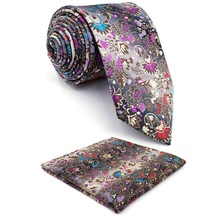 Цветочный узор многоцветный мужской галстук Набор Шелковый s Свадьба Экстра длинный тонкий