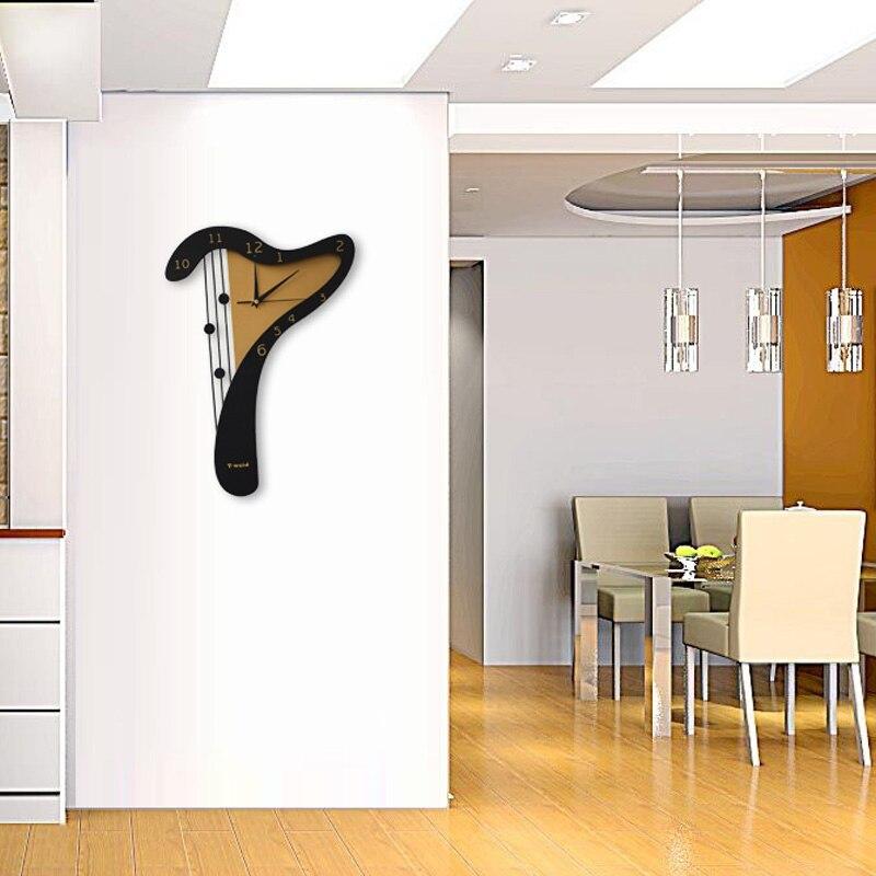 Wooden Harp Wall Clock Modern Design Harp Wall Clock Home Decor Wall Watch