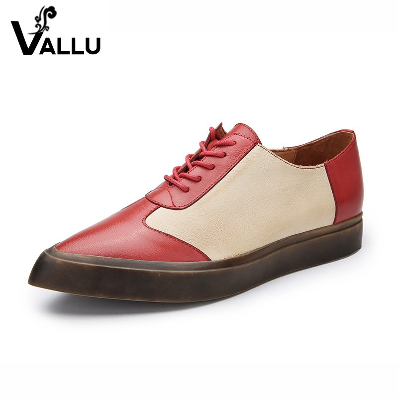 New Arrival 2018 Women Brand Shoes Genuine Leather Girls Casual Flat Shoes Pointed Toe Handmade Lace-up Mixed Color Lady Shoes ege brand handmade genuine leather spring shoes lace up breathable men casual shoes new fashion designer red flat male shoes