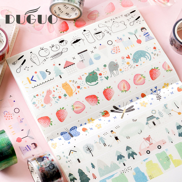 DUGUO cute stationery strawberry fruit scotch tape wonderful world cute hand account water glass decorative waterproof stickers image