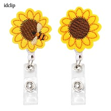 idclip Cute Sunflower Badge Reel Holder Retractable Id Holde for Nurses Students Teachers with honeybee