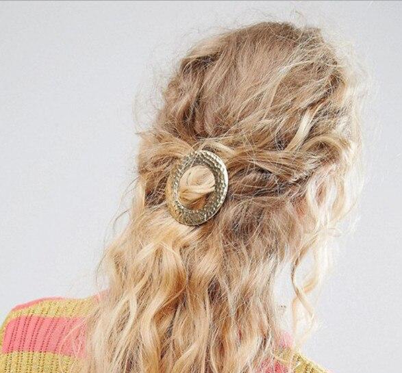 H36-070 12 шт./лот Бесплатная доставка традиция Женщины волос ювелирные изделия из золота и серебра текстурированная круглый диск заколки для в...