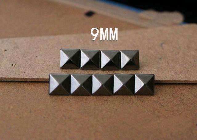 Retail 100pcs 9mm Gun-black Metal Rock Clothing Garment Rivets Nickel Prong Nailheads Pyramid Stud DIY Leathercrafts