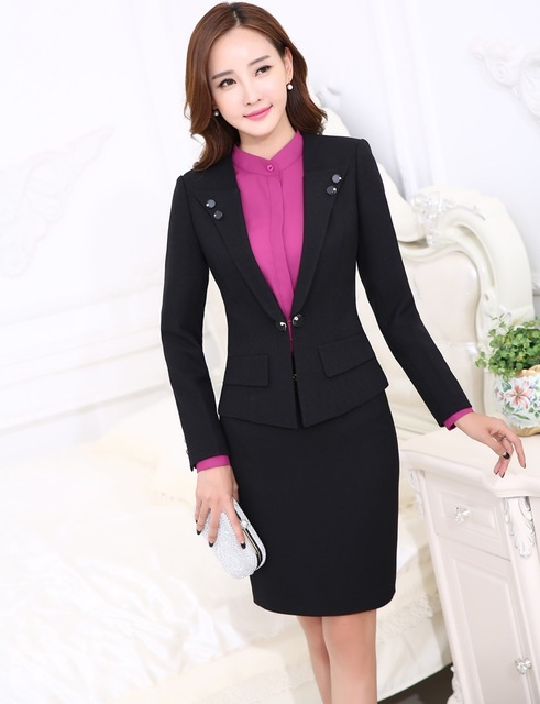 9b3c2810 New 2015 Autumn Winter Professional Business Women Suits Jackets And Skirt Ladies  Office Blazers Outfits Clothing