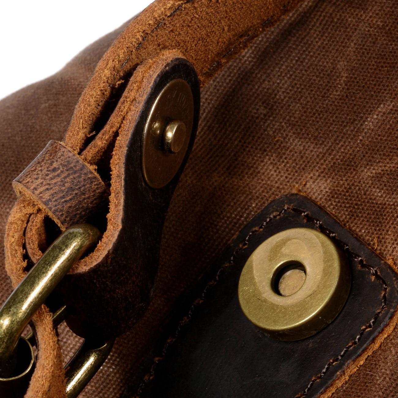 Toile imperméable à l'huile de cire et sac à dos en cuir véritable hommes voyage Vintage sac à dos à cordon grande capacité chaîne pochette d'ordinateur - 4