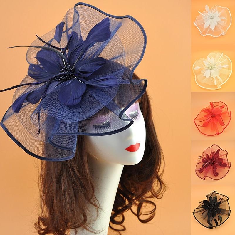 Cheap Tea Party Headwear Women Fascinator Hat Kentucky Derby Hat Cocktail Party Headband Hair Clip Hat Wedding Bridal Headdress