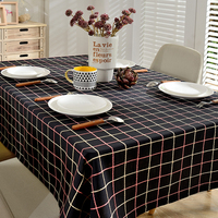 American Pastoral Black And White Lattice Waterproof Tablecloth Cotton And Linen Rectangular 80 120 Cm