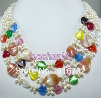 free P&P *****Wonderful 3 Rows White Real Pearl Multicolor Heart Opal Gem Pendants Necklace